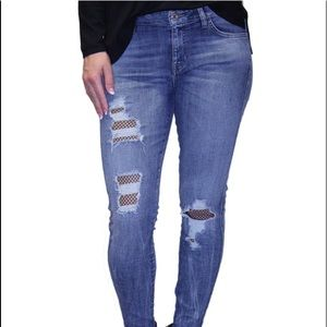 Guess skinny ankle fishnet jeans